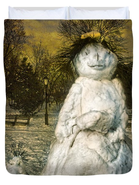 The Grunge Snowperson And Small Goth Friend Duvet Cover by Chris Lord