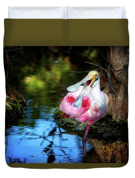 The Happy Spoonbill Duvet Cover by Mark Andrew Thomas
