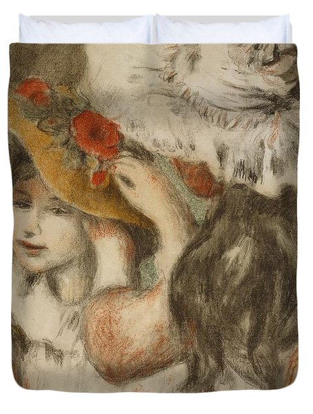 The Hatpin Duvet Cover by  Pierre Auguste Renoir