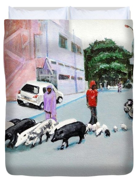 The Herd 5 - Pigs Duvet Cover by Usha Shantharam