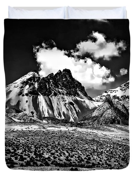 The High Andes Monochrome Duvet Cover by Steve Harrington