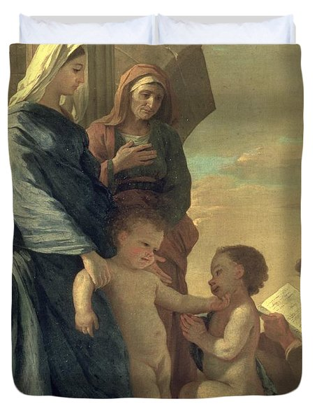 The Holy Family Duvet Cover by Nicolas Poussin