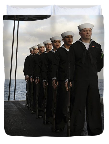 The Honor Guard Stands At Parade Rest Duvet Cover by Stocktrek Images