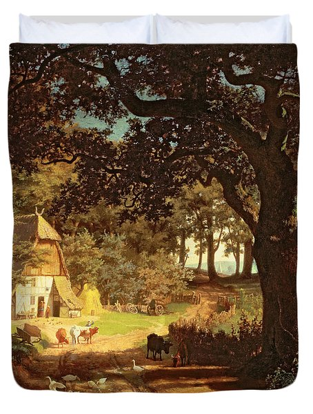 The House In The Woods Duvet Cover by Albert Bierstadt