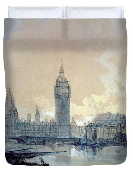 The Houses Of Parliament Duvet Cover by David Roberts