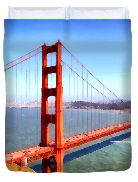 The Iconic San Francisco Golden Gate Bridge . 7d14507 Duvet Cover by Wingsdomain Art and Photography