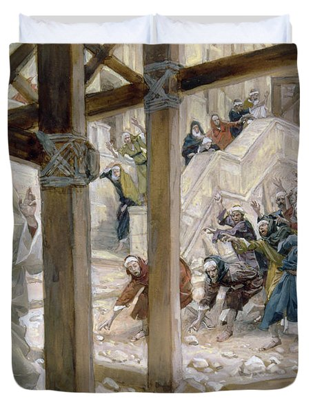 The Jews Took Up Stones To Cast At Him Duvet Cover by Tissot