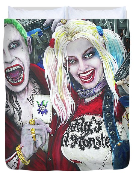 The Joker And Harley Quinn Duvet Cover by Michael Vanderhoof