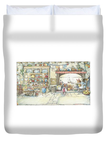The Kitchen At Crabapple Cottage Duvet Cover by Brambly Hedge