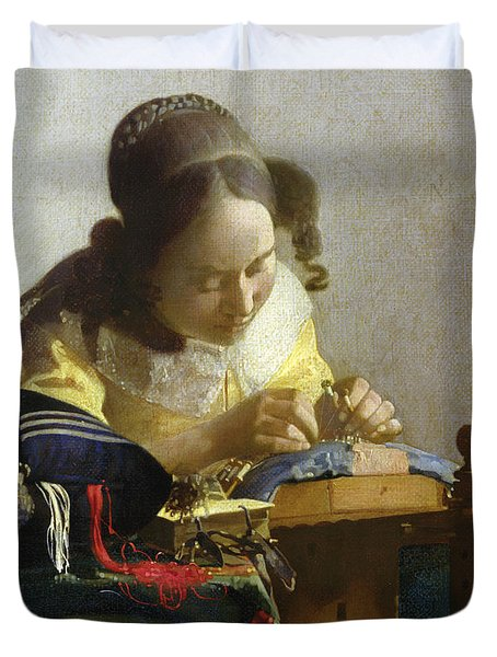 The Lacemaker Duvet Cover by Jan Vermeer