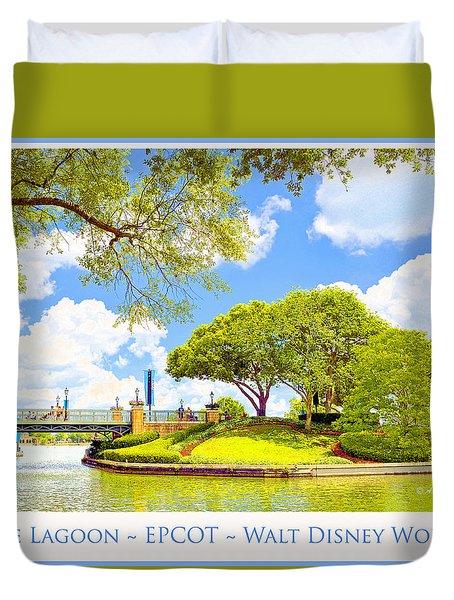 Duvet Cover featuring the digital art The Lagoon At Epcot Walt Disney World by A Gurmankin