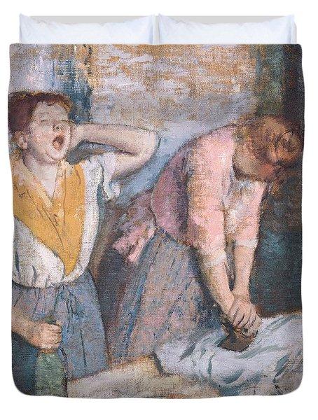 The Laundresses Duvet Cover by Edgar Degas