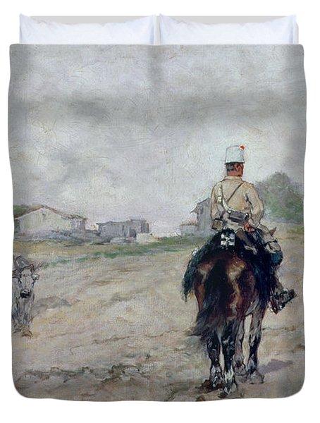 The Light Cavalryman Duvet Cover by Giovanni Fattori