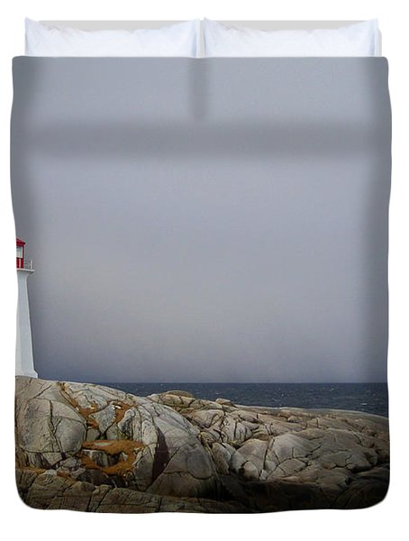 The Lighthouse At Peggys Cove Nova Scotia Duvet Cover by Shawna Mac