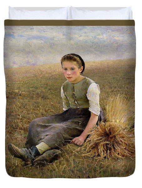 The Little Gleaner Duvet Cover by Hugo Salmson