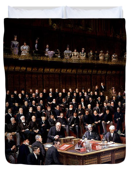 The Lord Chancellor About To Put The Question In The Debate About Home Rule In The House Of Lords Duvet Cover by English School