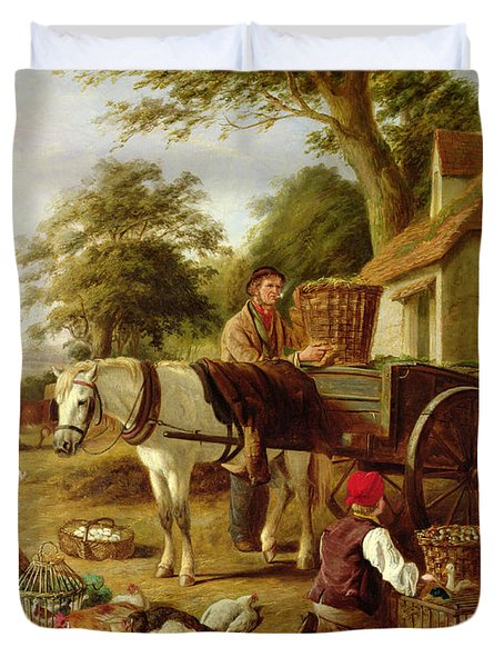 The Market Cart Duvet Cover by Henry Charles Bryant