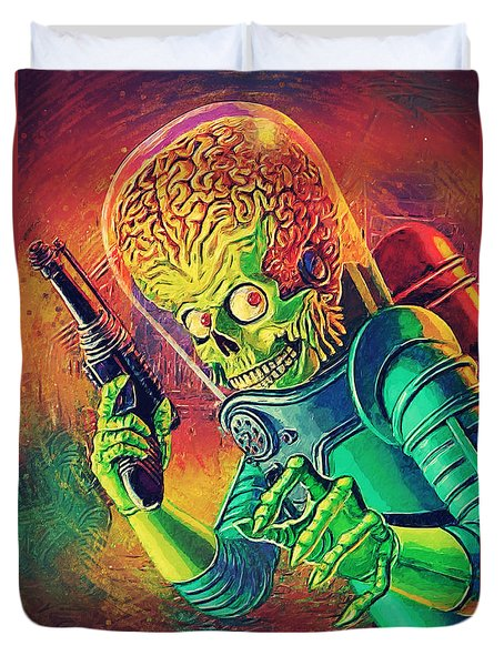 The Martian - Mars Attacks Duvet Cover by Taylan Soyturk