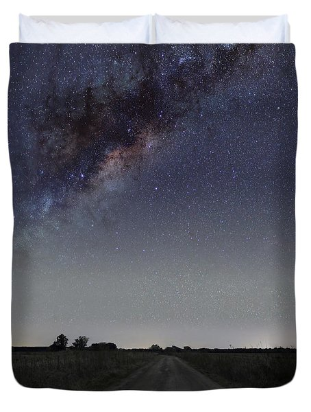 The Milky Way Galaxy Over A Rural Road Duvet Cover by Luis Argerich