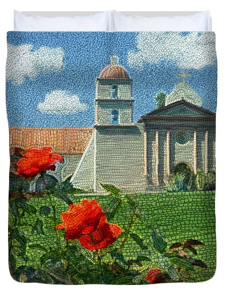 The Mission Santa Barbara Duvet Cover by Kurt Van Wagner