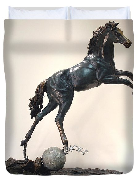The Moonhorse Bronze Duvet Cover by Dawn Senior-Trask
