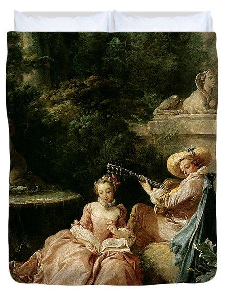 The Music Lesson Duvet Cover by Francois Boucher