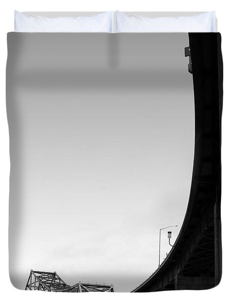 The Old Carquinez Bridge . Black and White . 7D8832 Duvet Cover by Wingsdomain Art and Photography