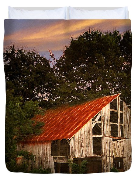The Old Lowdermilk Barn - Red Roof Barn Rustic Country Rural Antique Duvet Cover by Jon Holiday
