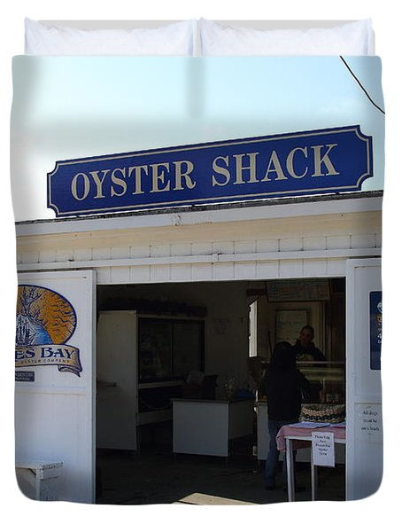 The Oyster Shack at Drakes Bay Oyster Company in Point Reyes California . 7D9832 Duvet Cover by Wingsdomain Art and Photography
