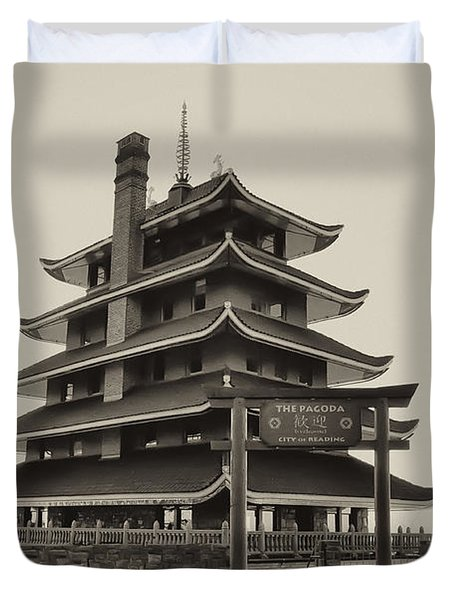The Pagoda - Reading Pa. Duvet Cover by Bill Cannon