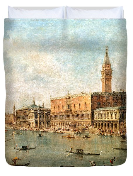 The Palace And The Molo From The Basin Of San Marco Duvet Cover by Francesco Guardi