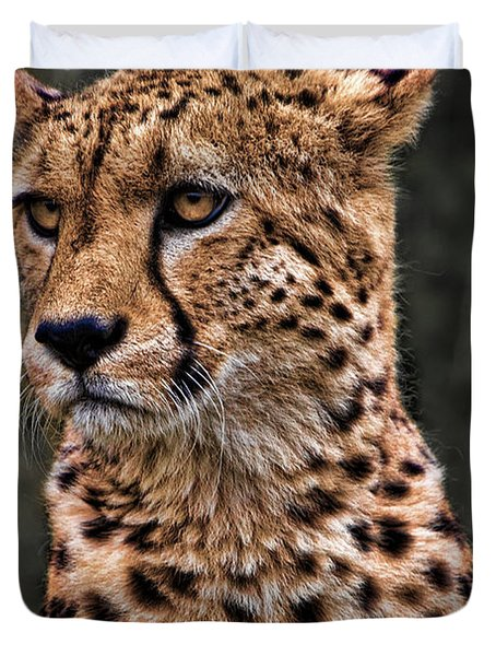 The Pensive Cheetah Duvet Cover by Chris Lord