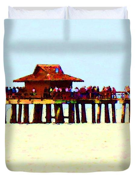 The Pier - Beach Pier Art Duvet Cover by Sharon Cummings