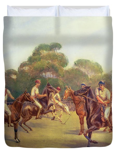 The Polo Match Duvet Cover by C M  Gonne