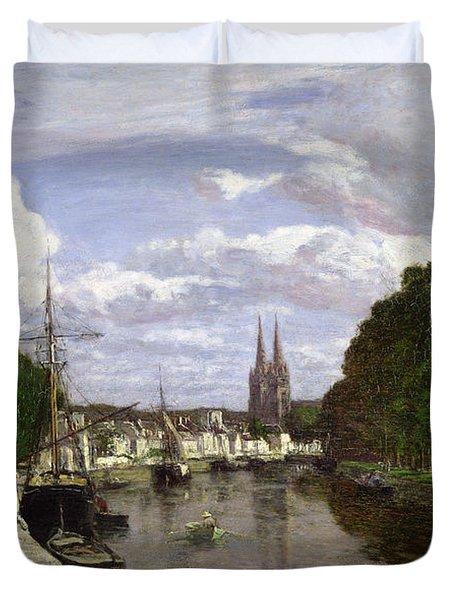 The Port At Quimper Duvet Cover by Eugene Louis Boudin