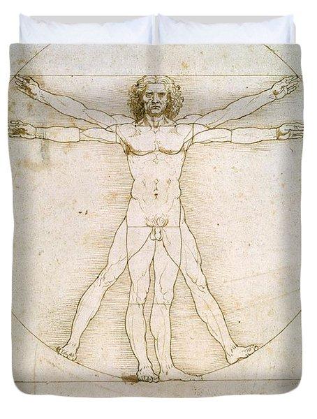 The Proportions Of The Human Figure  Duvet Cover by Leonardo Da Vinci