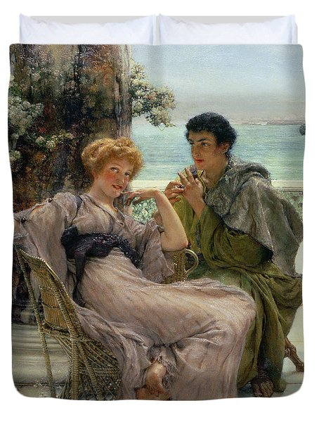 The Proposal Duvet Cover by Sir Lawrence Alma Tadema
