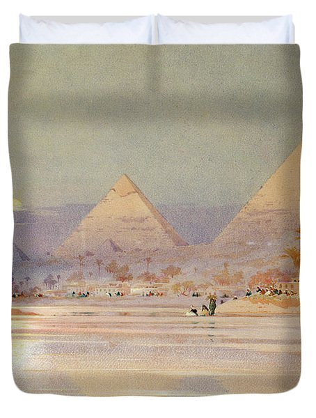 The Pyramids At Dusk Duvet Cover by Augustus Osborne Lamplough