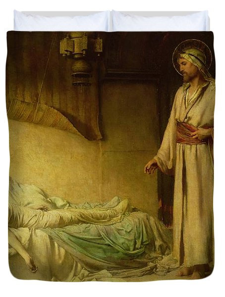 The Raising Of Jairus's Daughter Duvet Cover by George Percy Jacomb-Hood