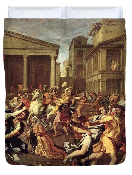The Rape Of The Sabines Duvet Cover by Nicolas Poussin