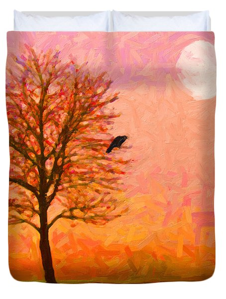 The Raven and The Moon Duvet Cover by Wingsdomain Art and Photography