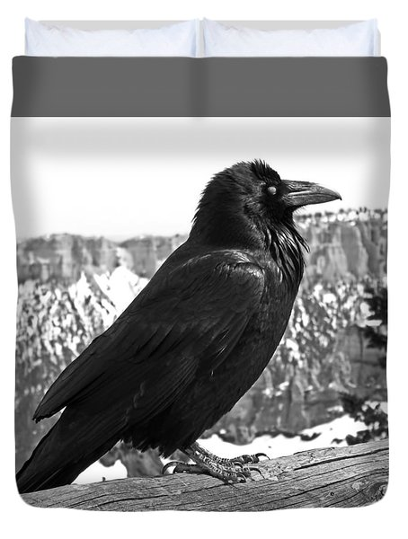 The Raven - Black And White Duvet Cover by Rona Black