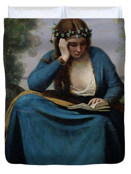 The Reader Crowned With Flowers Duvet Cover by Jean Baptiste Camille Corot