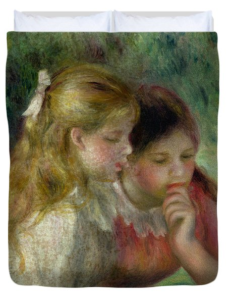 The Reading Duvet Cover by Pierre Auguste Renoir