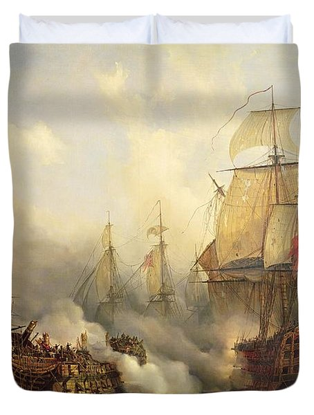 The Redoutable At Trafalgar Duvet Cover by Auguste Etienne Francois Mayer