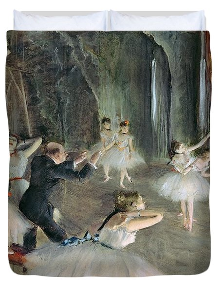 The Rehearsal Of The Ballet On Stage Duvet Cover by Edgar Degas