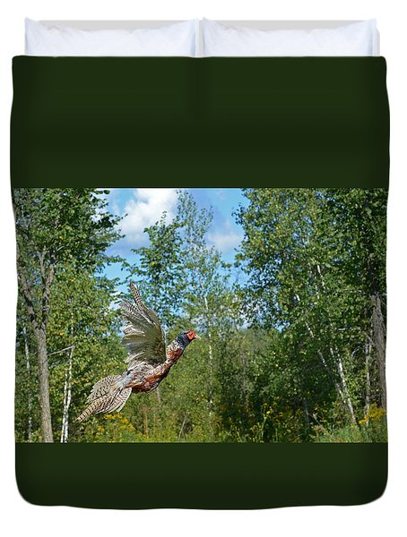 The Ring-necked Pheasant In Take-off Flight Duvet Cover by Asbed Iskedjian