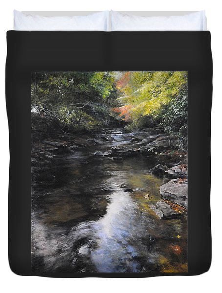 The River At Lady Bagots Duvet Cover by Harry Robertson