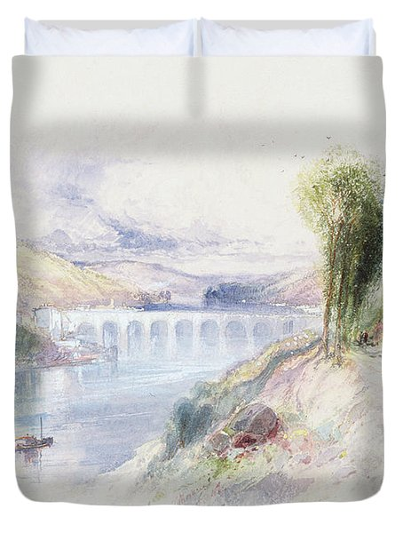 The River Schuykill Duvet Cover by Thomas Moran