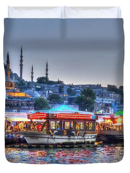 The Riverboats Of Istanbul Duvet Cover by Michael Garyet